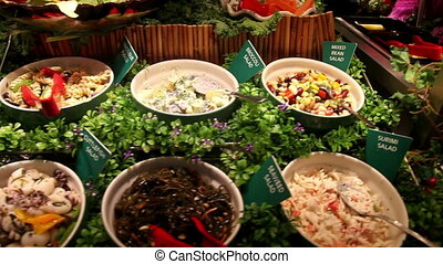 Salad buffet - Pan over a buffet table