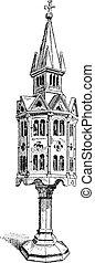 Church tabernacle  vintage engraving