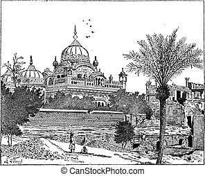 Mausoleum of Ranjit Singh, Lahore, Pakistan, vintage...
