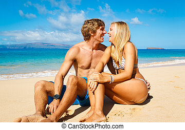 Young Couple on Tropical Beach - Attractive Young Couple on...