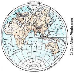 Earth, eastern Hemisphere, vintage engraving. - Earth,...