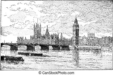 Westminster Bridge and the Houses of Parliament, London,...