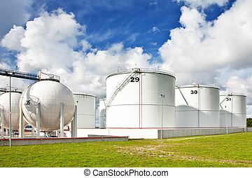 Oil refinery tanks photo