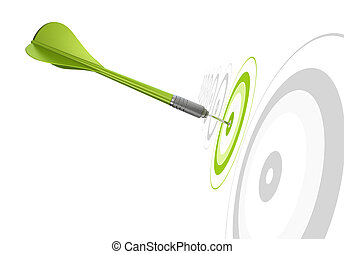 green dart hitting the center of a target, there is othr...