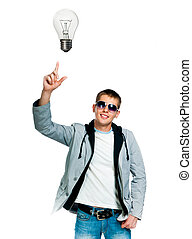 Portrait of a young man with light bulb