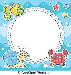 card with sea creatures - card with cartoon sea creatures,...