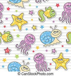 pattern of sea creatures - seamless pattern of cartoon sea...