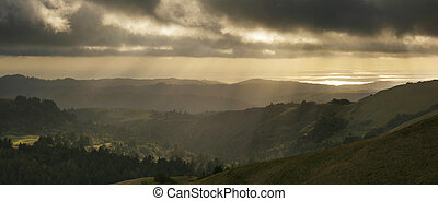 Santa Cruz Mountains at sunset