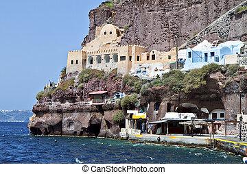 Santorini island in Greece - Old port of Fira city at...