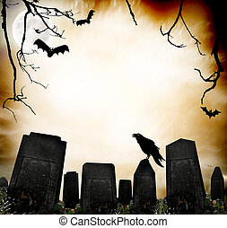 Horror background - Scary scene with raven and bats...