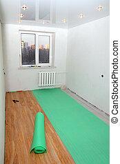 repair in room - laying floorings