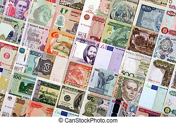 Money from different countries - Paper money of different...