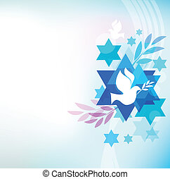 template card with jewish symbols, pigeon and david star