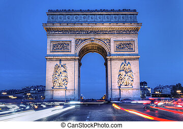 The Arc de Triomphe by night