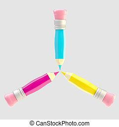 Set of three shiny pencil isolated