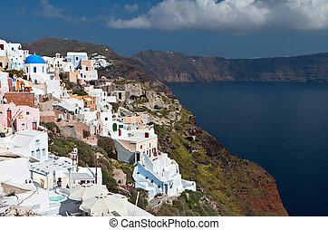 Santorini island in Greece - Scenic village of Oia and the...
