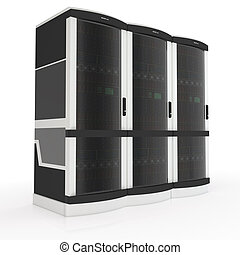 three servers - three server racks with on white background