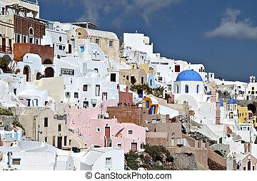 Oia of Santorini island in Greece - Typical village of the...
