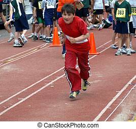 The Running boy on the long jump