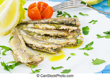 marinated anchovies - Marinated anchovies in the dish with...