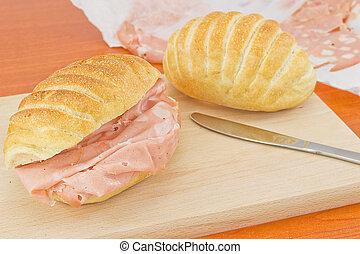 mortadella sandwich- bologna - delicious mortadella bologna...