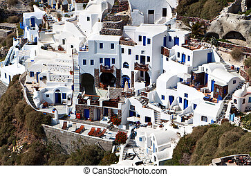 Santorini island in aegean, Greece - Village of Oia and the...