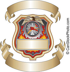 Firefighter Shield III - Illustration of a firefighter or...