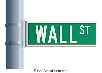 Wall Street sign - Green isolated Wall Street sign on a...