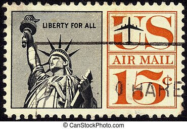 Statue of Liberty 15 c - UNITED STATES - CIRCA 1960s : A...