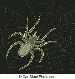 Spider on Web - Abstract Spider on Spiderweb, vector...