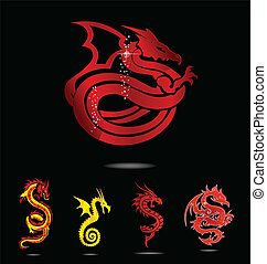 elegance asia dragon set isolated