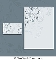 Foral letterhead and business card layout - Floral design...