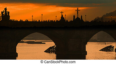 prag - automn in prag in tcheck republic: Charles bridge