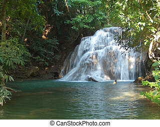 Huay Mae Kamin Waterfal - Third level of Huay Mae Kamin...