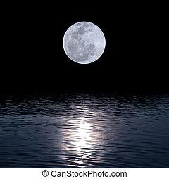 充分, 月亮, 在上方, 水