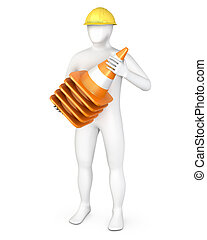 Worker with a stack of road cones, isolated on white