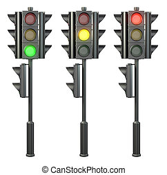 Set of four sided traffic lights on a stand