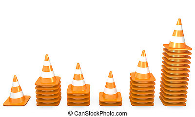Graph of growth made of traffic cones, isolated on white...