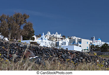 Pyrgos village at Santorini, Greece - Pyrgos village at...