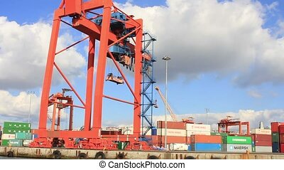 Containers and Cranes - Containers and cranes in seaport
