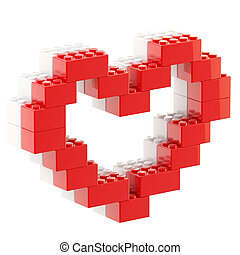 Heart symbol made of toy bricks - Heart symbol made of toy...