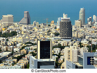 Tel Aviv Skyline - Aerial skyline towards the Mediterranean...