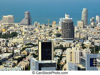 Tel Aviv Skyline - Aerial skyline towards the Mediterranean...