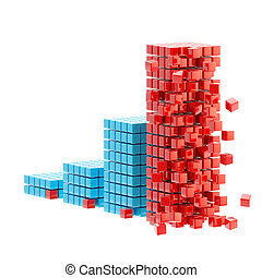 Collapse: ruined bar graph isolated - Collapse and economy...