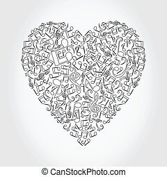 Musical heart4 - Heart collected from musical notes. A...