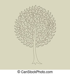 Wood tree7 - Tree with a roundish crone. A vector...