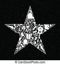 Musical star3 - Star from musical instruments A vector...
