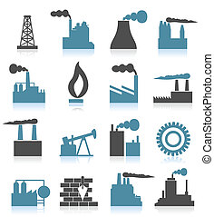 Industrial icons6 - Set of icons on a theme the industry A...
