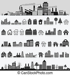 Home icon - Set of icons of houses A vector illustration