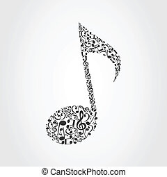 Musical note6 - The note made of musical notes. A vector...